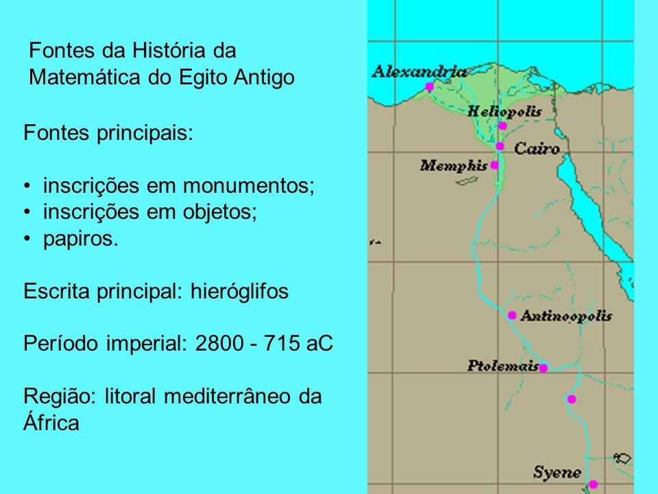 Fontes principais: inscrições em monumentos; inscrições em objetos; papiros. Escrita principal: hieróglifos Período imperial: 2800 - 715 aC Região: li