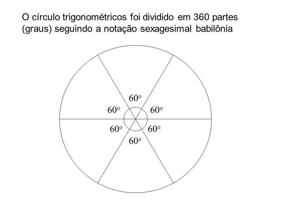 60 o O círculo trigonométricos foi dividido em 360 partes (graus) seguindo a notação sexagesimal babilônia