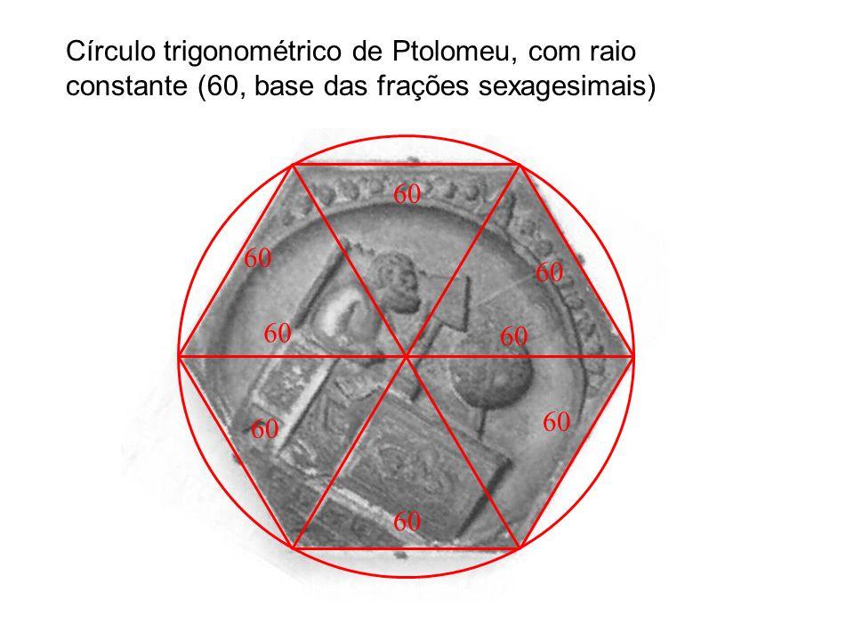 60 Círculo trigonométrico de Ptolomeu, com raio constante (60, base das frações sexagesimais)