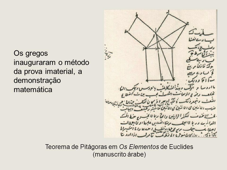 Teorema de Pitágoras em Os Elementos de Euclides (manuscrito árabe) Os gregos inauguraram o método da prova imaterial, a demonstração matemática