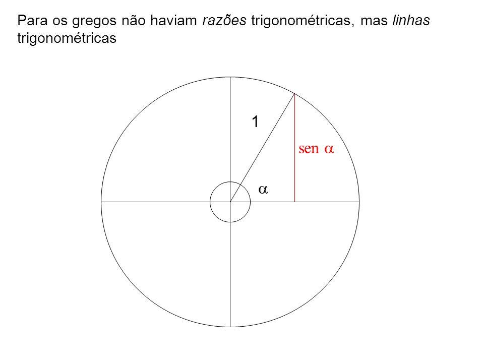 Para os gregos não haviam razões trigonométricas, mas linhas trigonométricas sen 1
