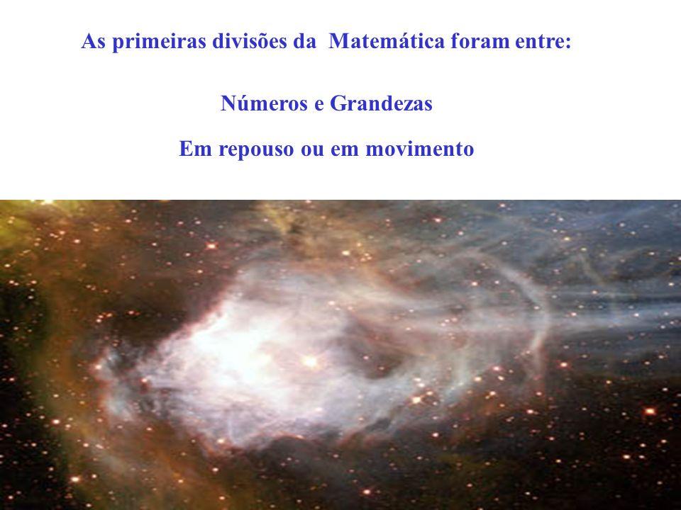 As primeiras divisões da Matemática foram entre: Números e Grandezas Em repouso ou em movimento