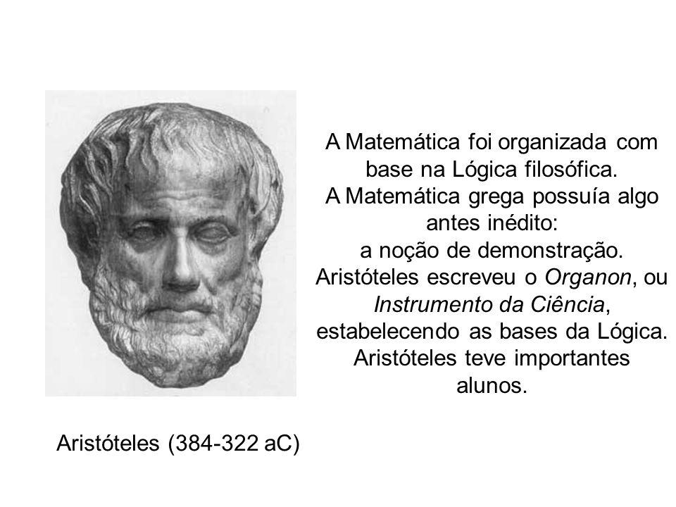 A Matemática foi organizada com base na Lógica filosófica. A Matemática grega possuía algo antes inédito: a noção de demonstração. Aristóteles escreve