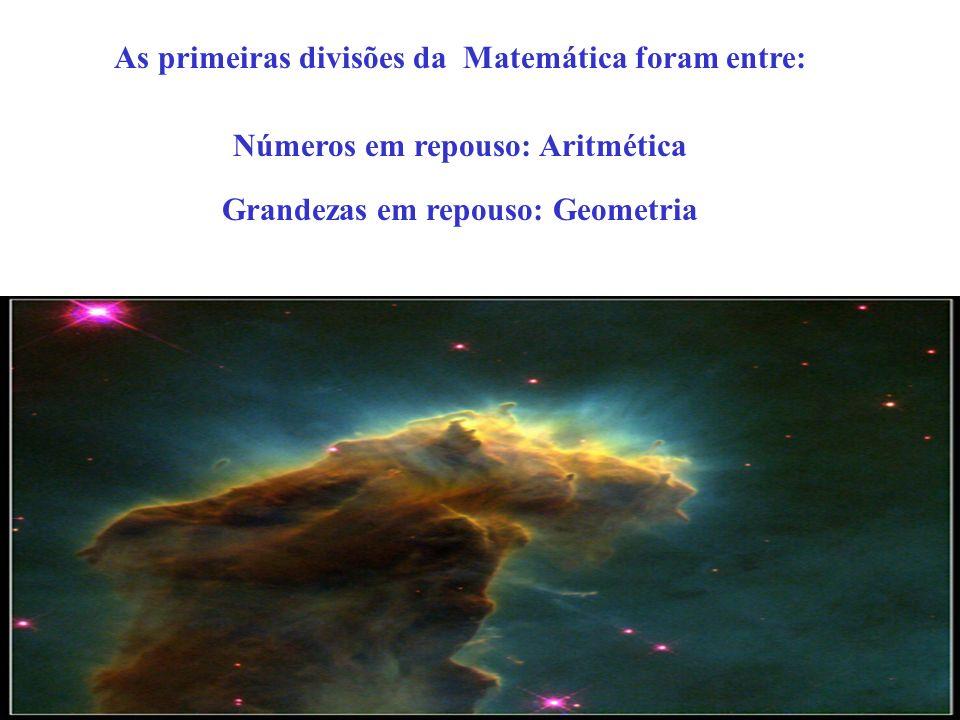 As primeiras divisões da Matemática foram entre: Números em repouso: Aritmética Grandezas em repouso: Geometria
