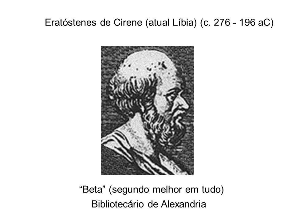 Eratóstenes de Cirene (atual Líbia) (c. 276 - 196 aC) Beta (segundo melhor em tudo) Bibliotecário de Alexandria