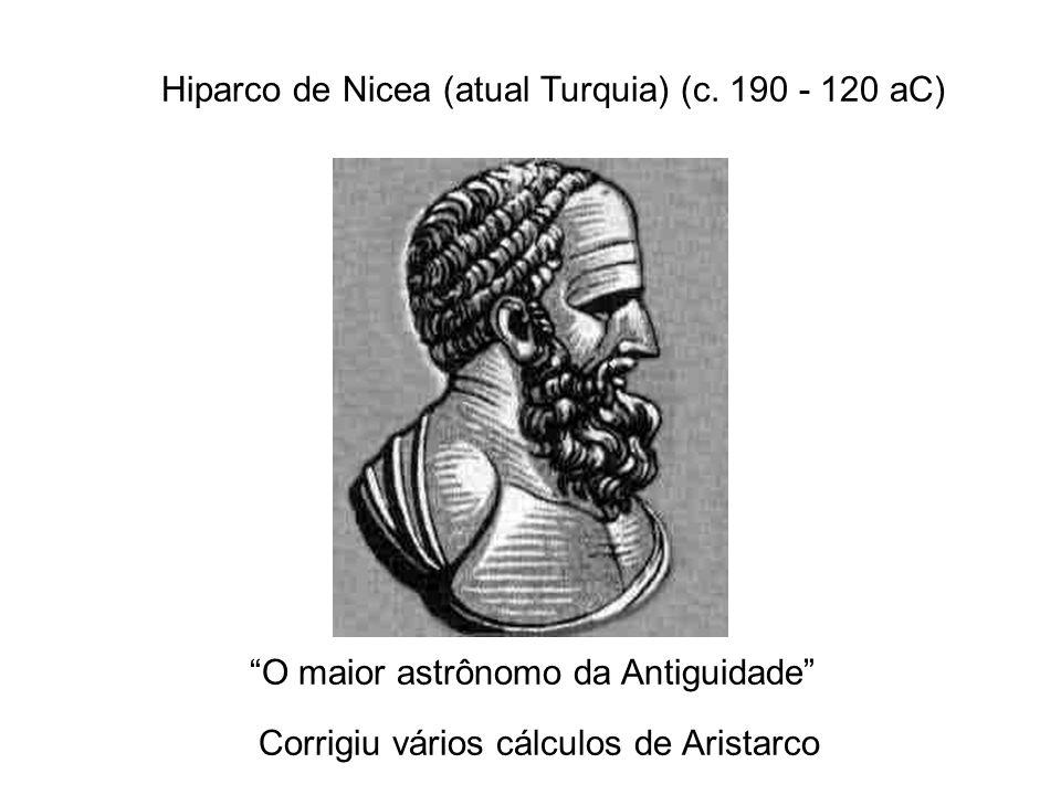 Hiparco de Nicea (atual Turquia) (c. 190 - 120 aC) O maior astrônomo da Antiguidade Corrigiu vários cálculos de Aristarco