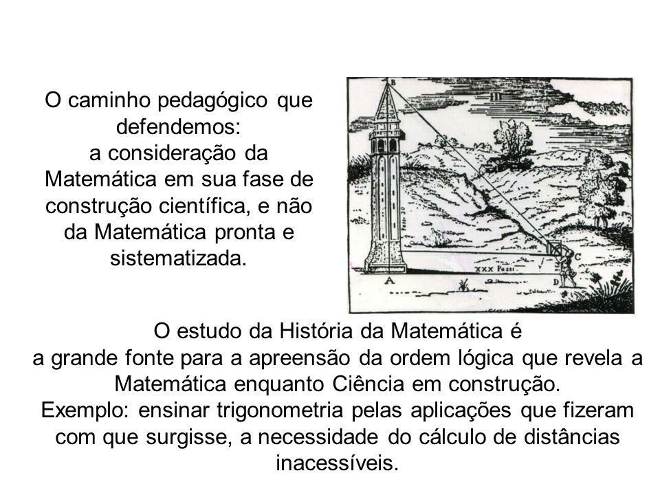 O caminho pedagógico que defendemos: a consideração da Matemática em sua fase de construção científica, e não da Matemática pronta e sistematizada. O