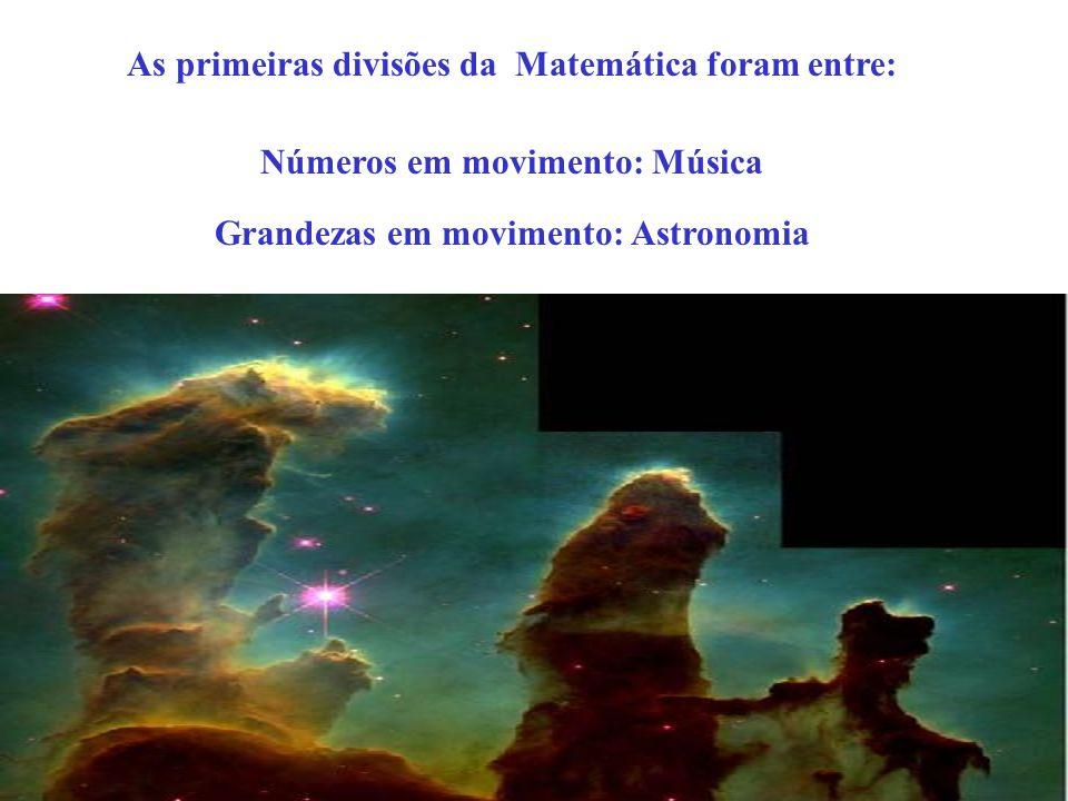As primeiras divisões da Matemática foram entre: Números em movimento: Música Grandezas em movimento: Astronomia