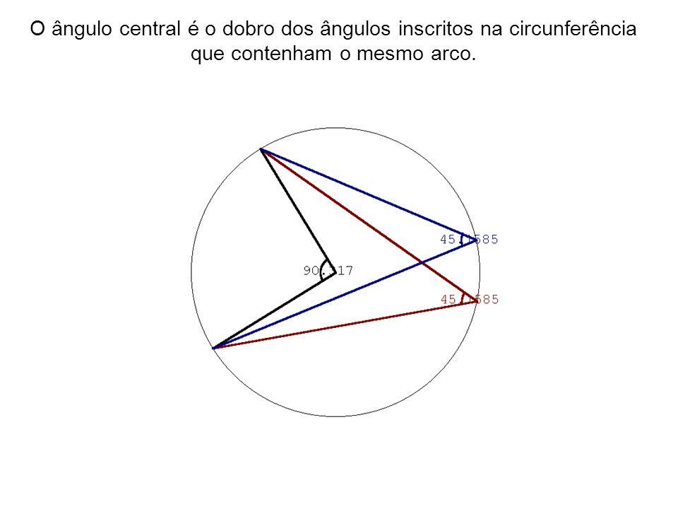 O ângulo central é o dobro dos ângulos inscritos na circunferência que contenham o mesmo arco.