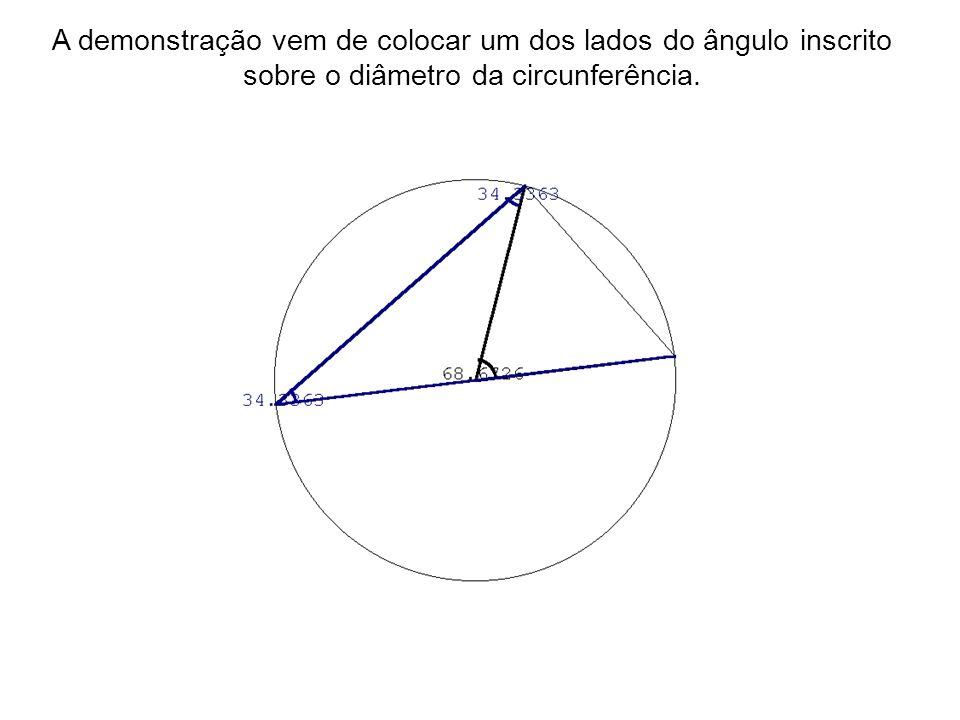 A demonstração vem de colocar um dos lados do ângulo inscrito sobre o diâmetro da circunferência.