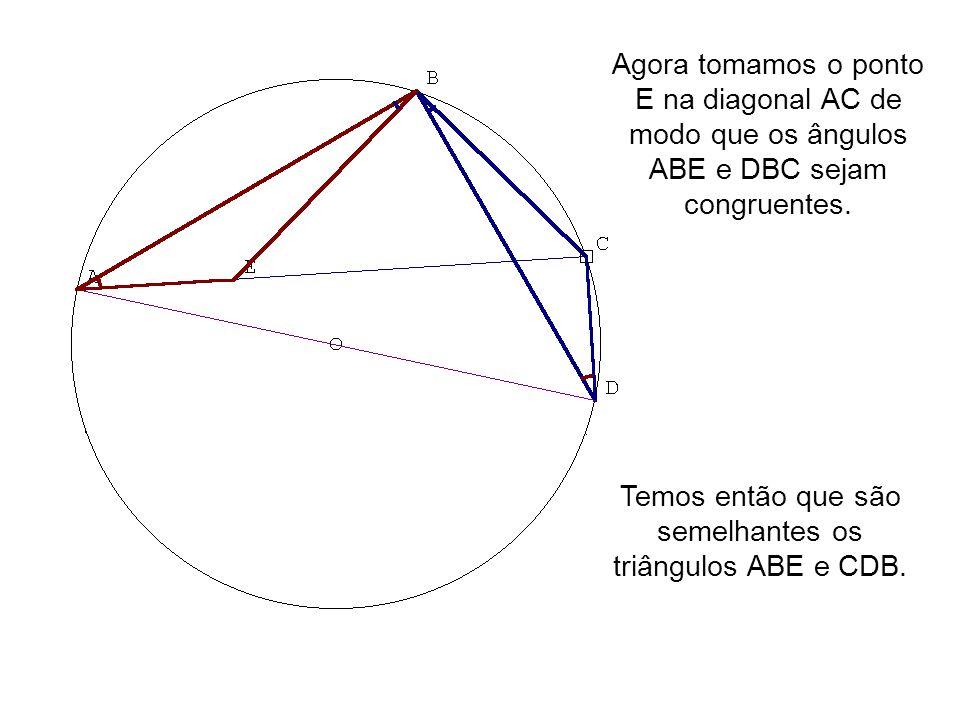 Agora tomamos o ponto E na diagonal AC de modo que os ângulos ABE e DBC sejam congruentes. Temos então que são semelhantes os triângulos ABE e CDB.