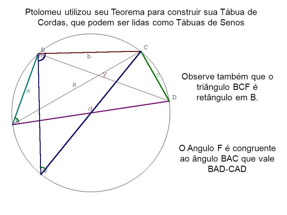 Observe também que o triângulo BCF é retângulo em B. O Angulo F é congruente ao ângulo BAC que vale BAD-CAD Ptolomeu utilizou seu Teorema para constru