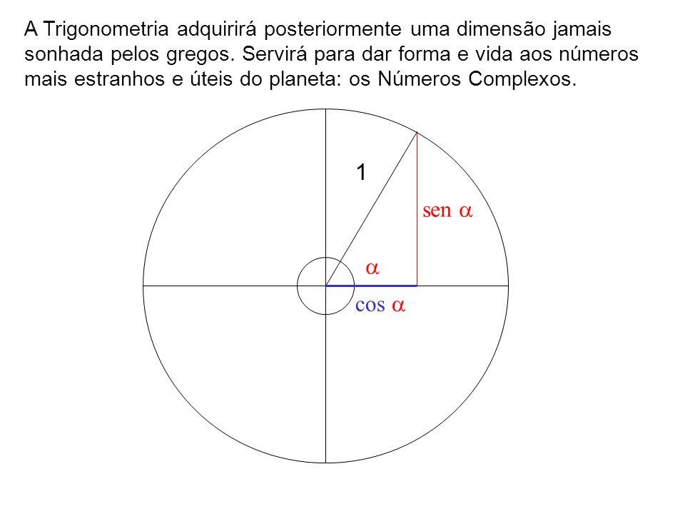 A Trigonometria adquirirá posteriormente uma dimensão jamais sonhada pelos gregos. Servirá para dar forma e vida aos números mais estranhos e úteis do