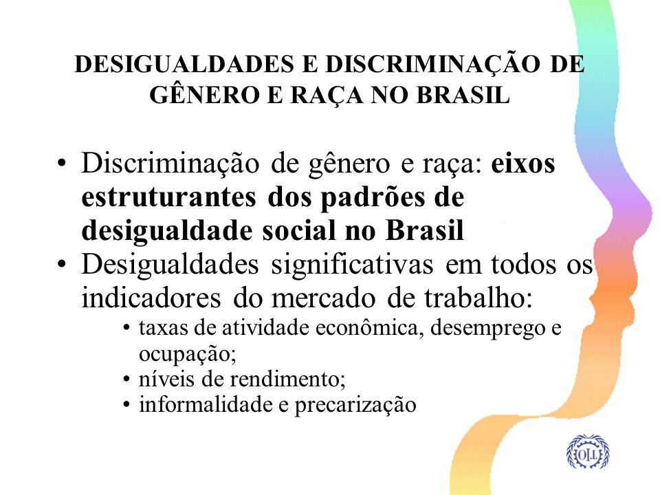 DESIGUALDADES E DISCRIMINAÇÃO DE GÊNERO E RAÇA NO BRASIL Discriminação de gênero e raça: eixos estruturantes dos padrões de desigualdade social no Bra