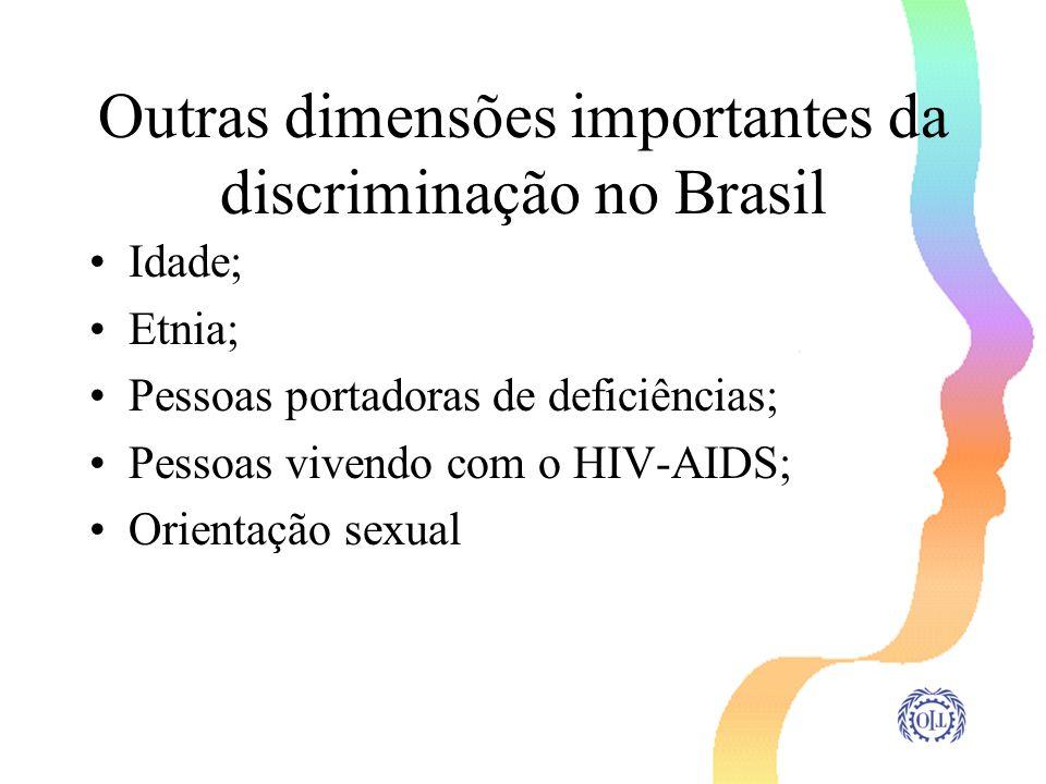 Outras dimensões importantes da discriminação no Brasil Idade; Etnia; Pessoas portadoras de deficiências; Pessoas vivendo com o HIV-AIDS; Orientação s