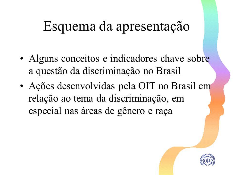 Esquema da apresentação Alguns conceitos e indicadores chave sobre a questão da discriminação no Brasil Ações desenvolvidas pela OIT no Brasil em rela