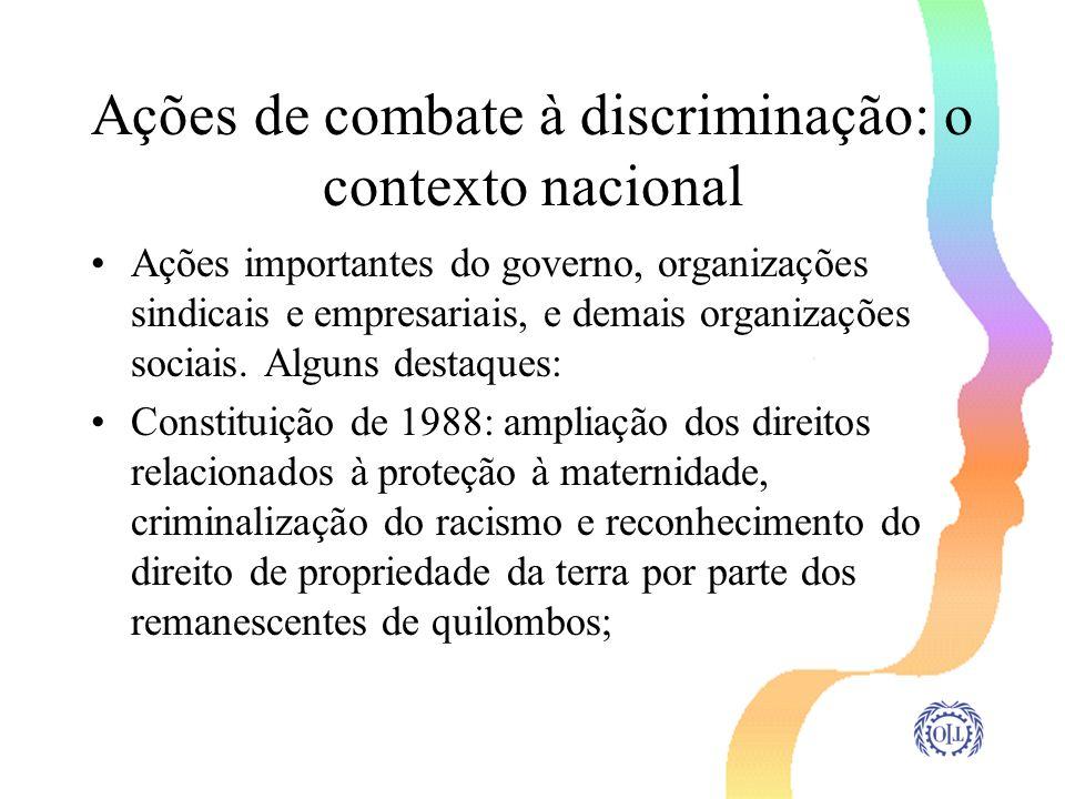 Ações de combate à discriminação: o contexto nacional Ações importantes do governo, organizações sindicais e empresariais, e demais organizações socia