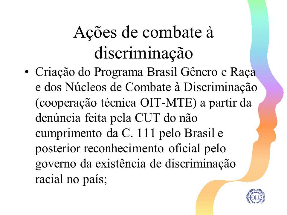 Ações de combate à discriminação Criação do Programa Brasil Gênero e Raça e dos Núcleos de Combate à Discriminação (cooperação técnica OIT-MTE) a part