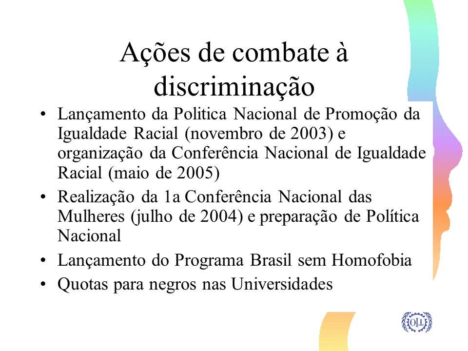 Ações de combate à discriminação Lançamento da Politica Nacional de Promoção da Igualdade Racial (novembro de 2003) e organização da Conferência Nacio