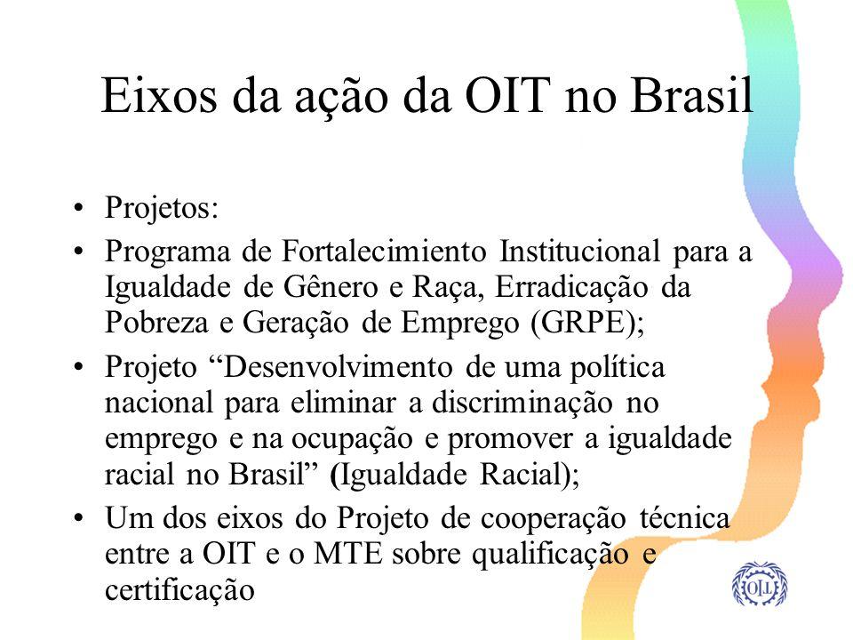 Eixos da ação da OIT no Brasil Projetos: Programa de Fortalecimiento Institucional para a Igualdade de Gênero e Raça, Erradicação da Pobreza e Geração