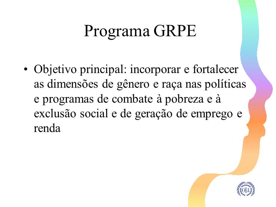Programa GRPE Objetivo principal: incorporar e fortalecer as dimensões de gênero e raça nas políticas e programas de combate à pobreza e à exclusão so
