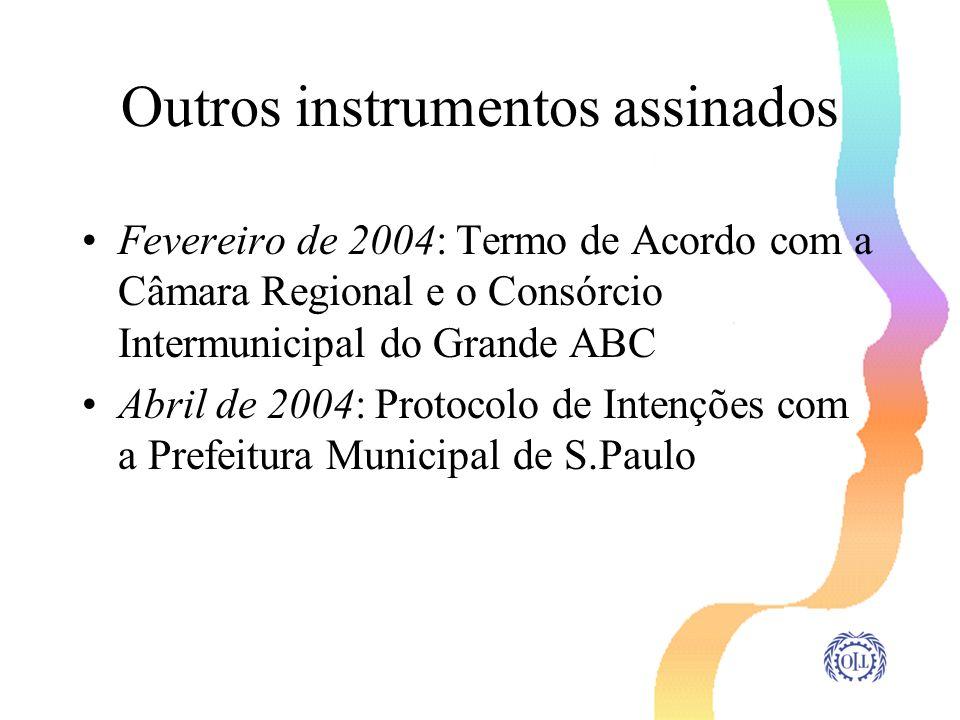 Outros instrumentos assinados Fevereiro de 2004: Termo de Acordo com a Câmara Regional e o Consórcio Intermunicipal do Grande ABC Abril de 2004: Proto