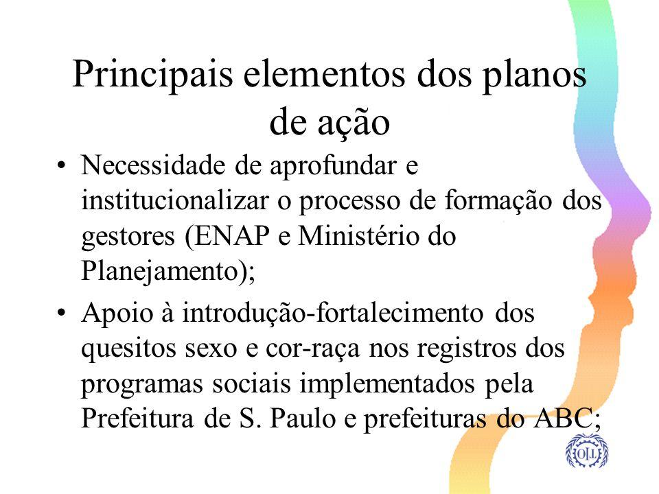 Principais elementos dos planos de ação Necessidade de aprofundar e institucionalizar o processo de formação dos gestores (ENAP e Ministério do Planej