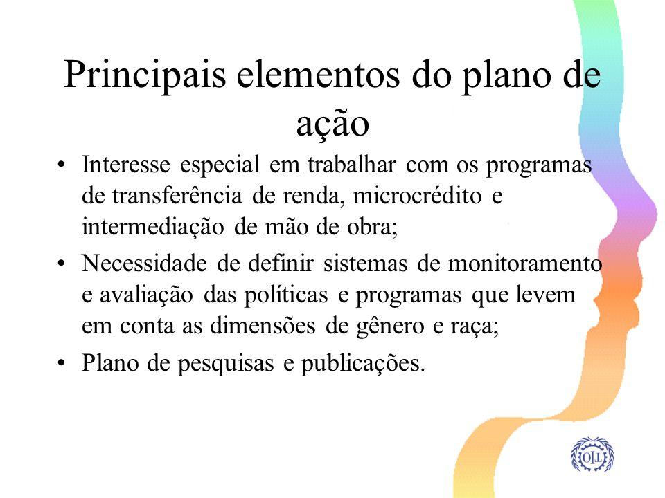 Principais elementos do plano de ação Interesse especial em trabalhar com os programas de transferência de renda, microcrédito e intermediação de mão