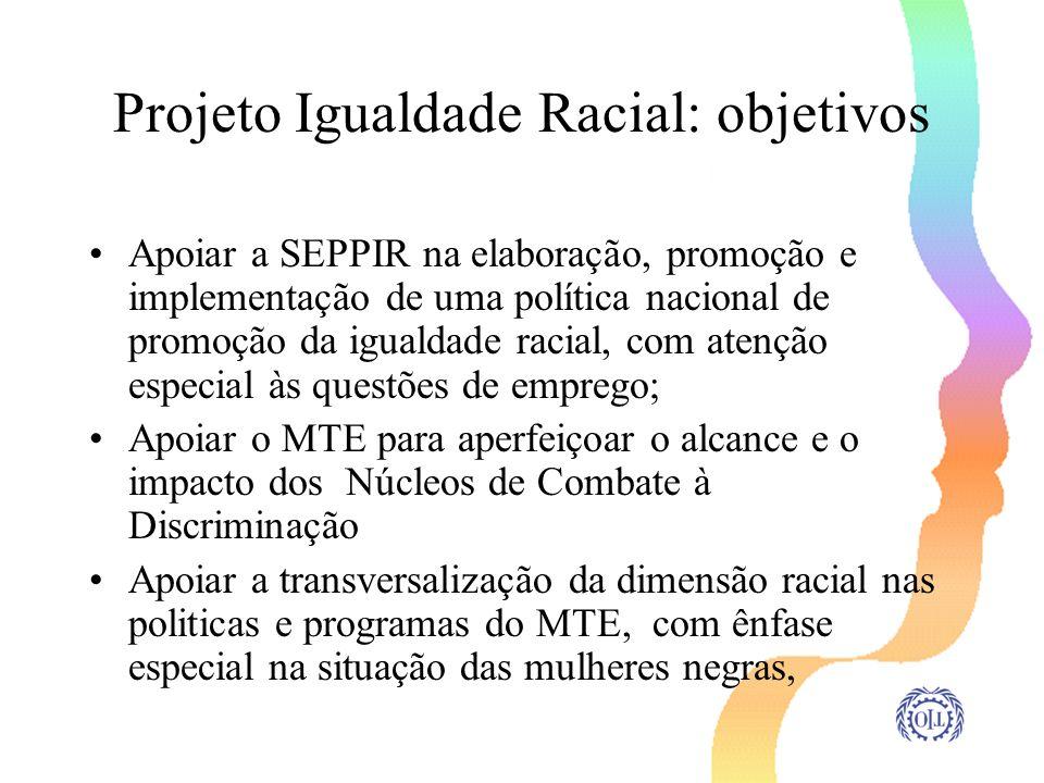 Projeto Igualdade Racial: objetivos Apoiar a SEPPIR na elaboração, promoção e implementação de uma política nacional de promoção da igualdade racial,