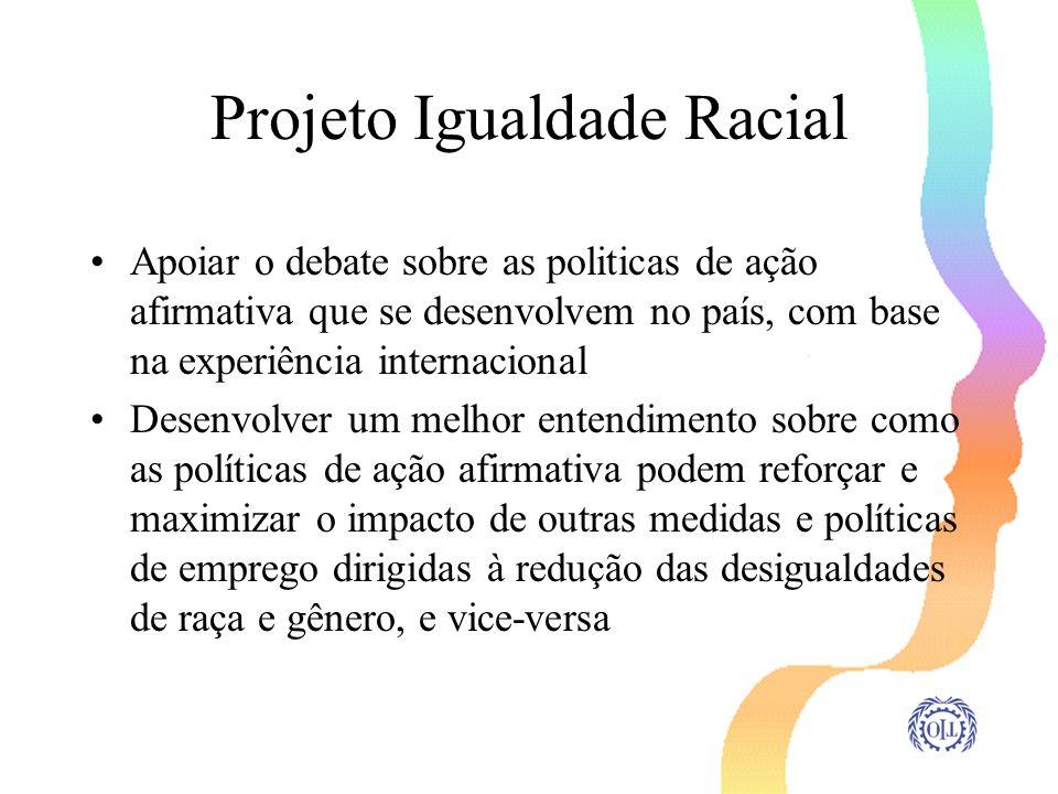 Projeto Igualdade Racial Apoiar o debate sobre as politicas de ação afirmativa que se desenvolvem no país, com base na experiência internacional Desen