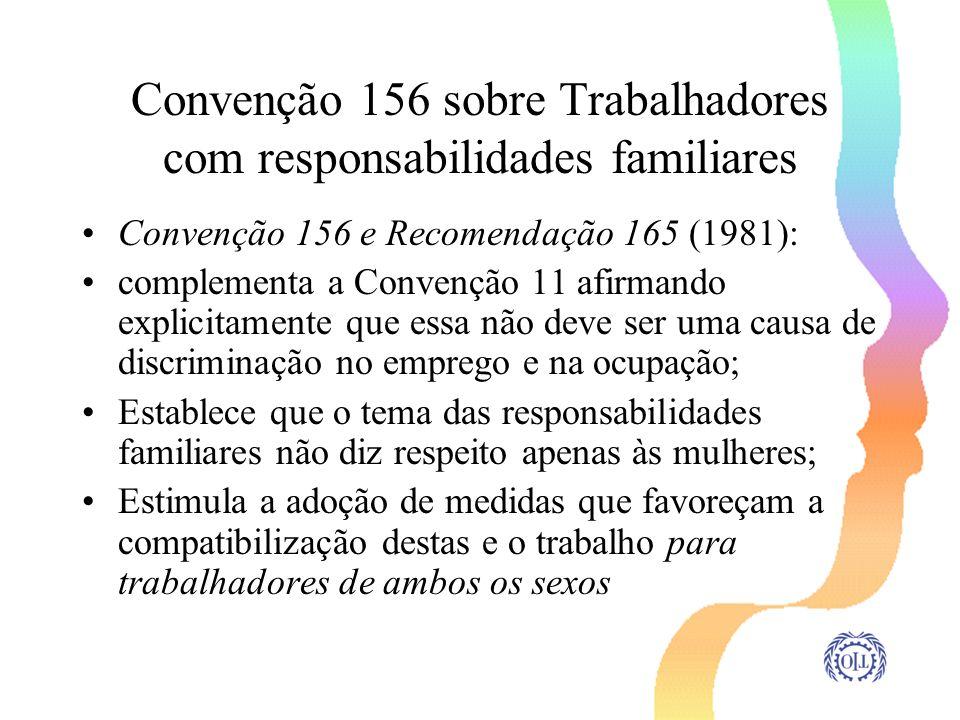 Convenção 156 sobre Trabalhadores com responsabilidades familiares Convenção 156 e Recomendação 165 (1981): complementa a Convenção 11 afirmando expli