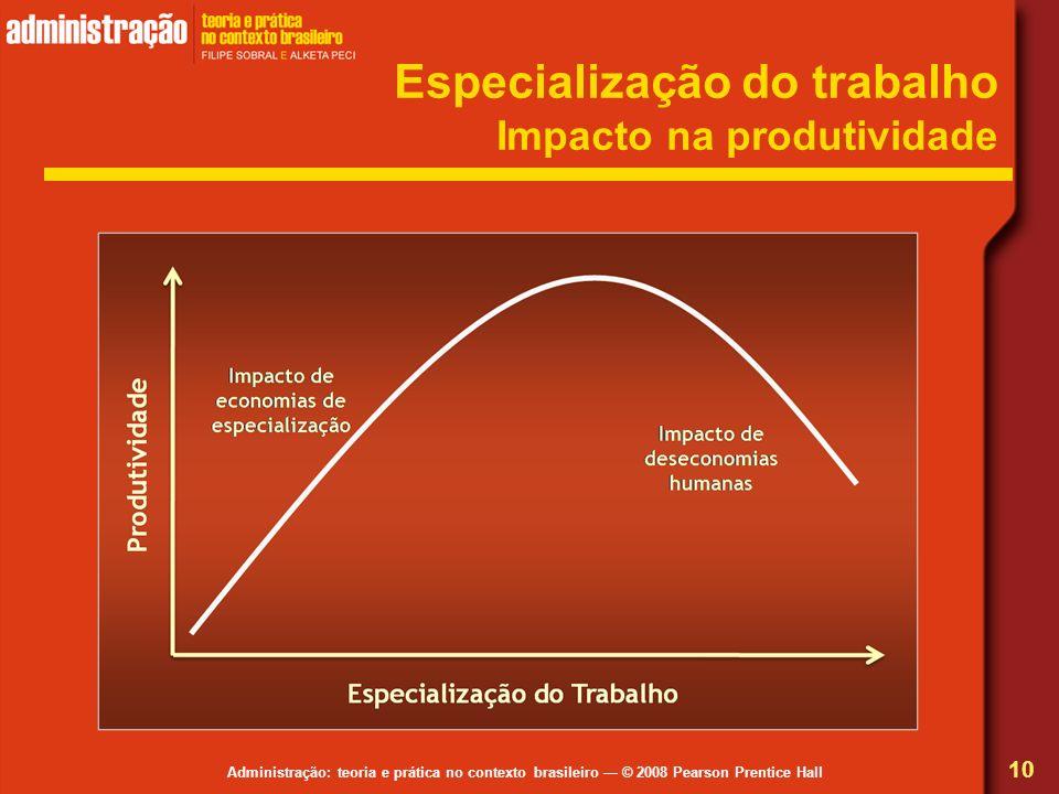 Administração: teoria e prática no contexto brasileiro © 2008 Pearson Prentice Hall Especialização do trabalho Impacto na produtividade 10