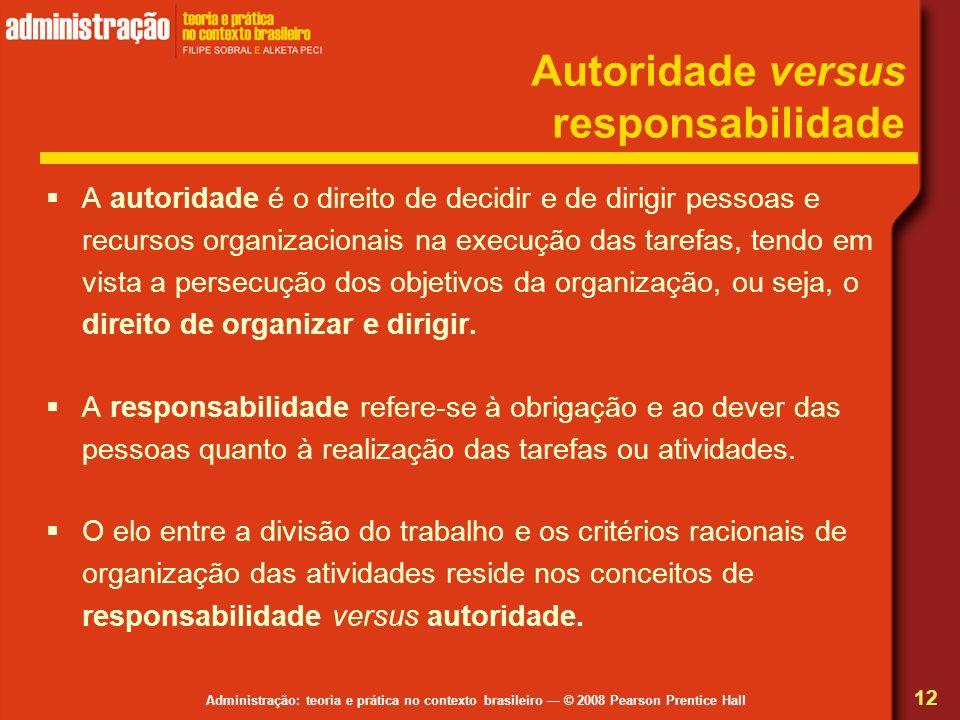 Administração: teoria e prática no contexto brasileiro © 2008 Pearson Prentice Hall Autoridade versus responsabilidade A autoridade é o direito de dec