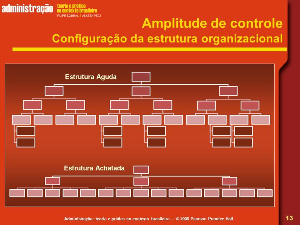 Administração: teoria e prática no contexto brasileiro © 2008 Pearson Prentice Hall Amplitude de controle Configuração da estrutura organizacional 13