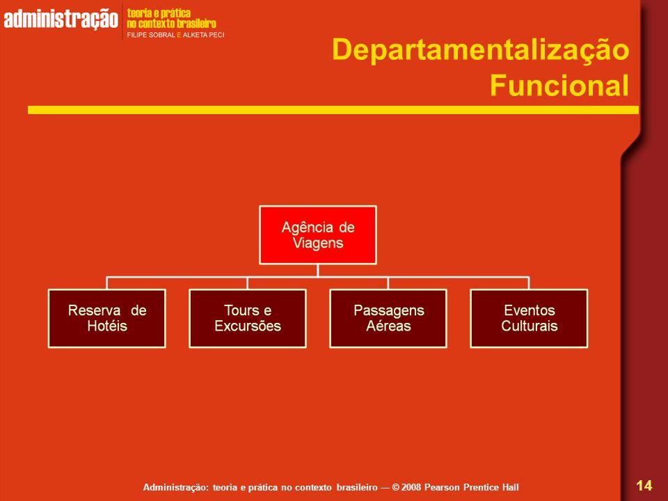 Administração: teoria e prática no contexto brasileiro © 2008 Pearson Prentice Hall Departamentalização Funcional 14