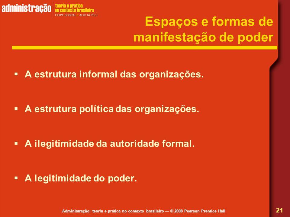 Administração: teoria e prática no contexto brasileiro © 2008 Pearson Prentice Hall Espaços e formas de manifestação de poder A estrutura informal das