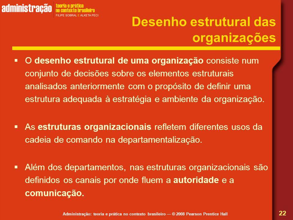Administração: teoria e prática no contexto brasileiro © 2008 Pearson Prentice Hall Desenho estrutural das organizações O desenho estrutural de uma or
