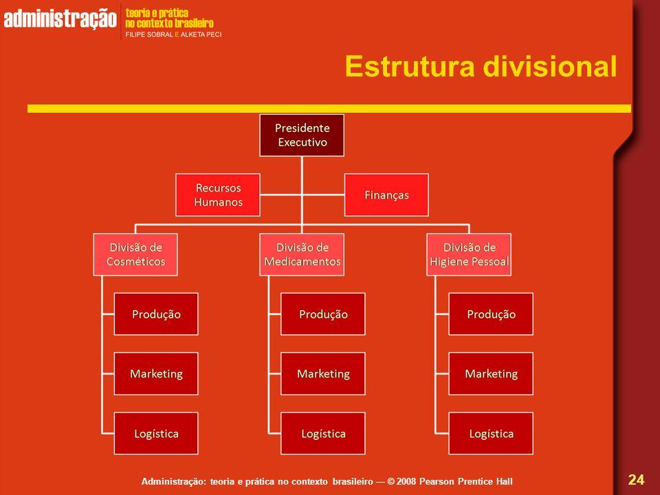 Administração: teoria e prática no contexto brasileiro © 2008 Pearson Prentice Hall Estrutura divisional 24