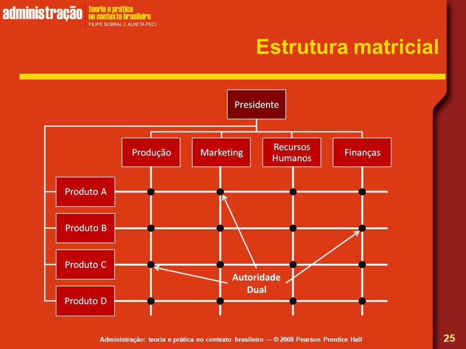 Administração: teoria e prática no contexto brasileiro © 2008 Pearson Prentice Hall Estrutura matricial 25