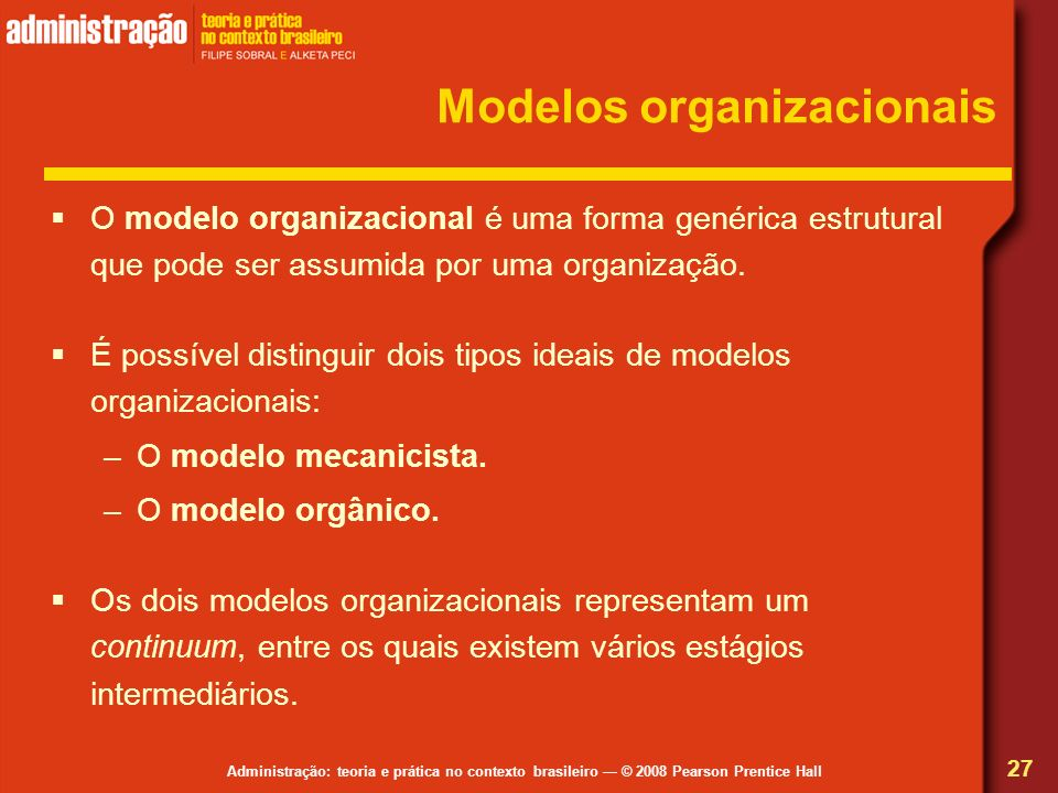 Administração: teoria e prática no contexto brasileiro © 2008 Pearson Prentice Hall Modelos organizacionais O modelo organizacional é uma forma genéri