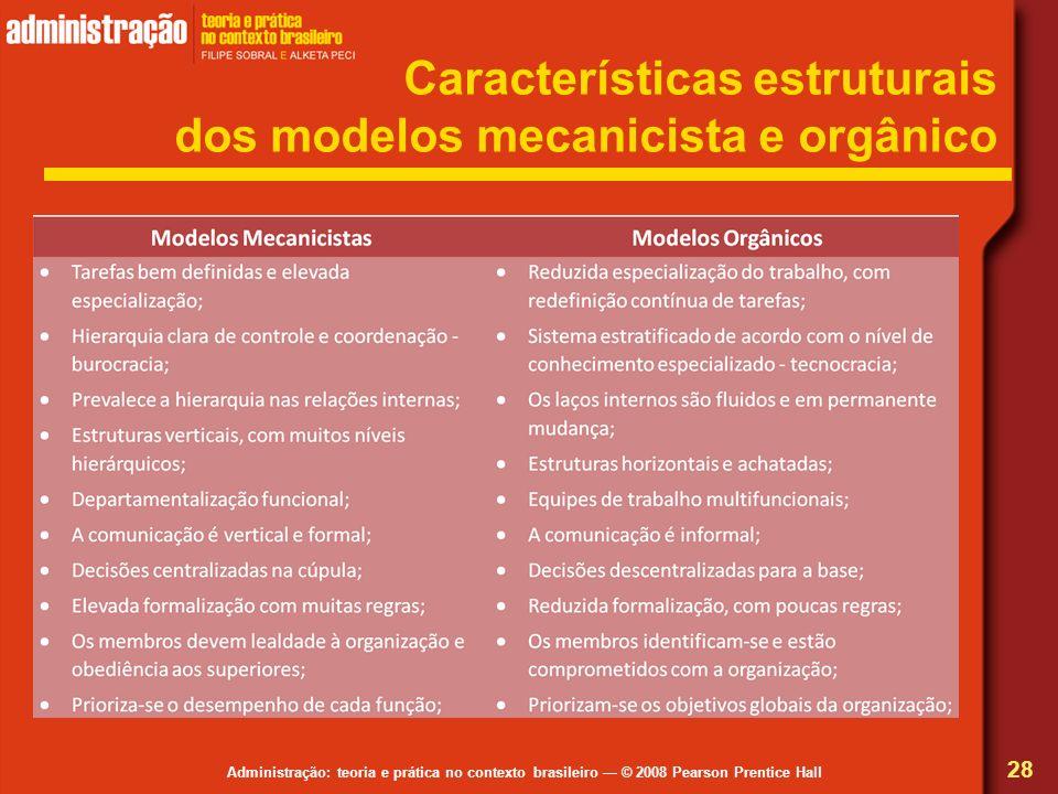 Administração: teoria e prática no contexto brasileiro © 2008 Pearson Prentice Hall Características estruturais dos modelos mecanicista e orgânico 28