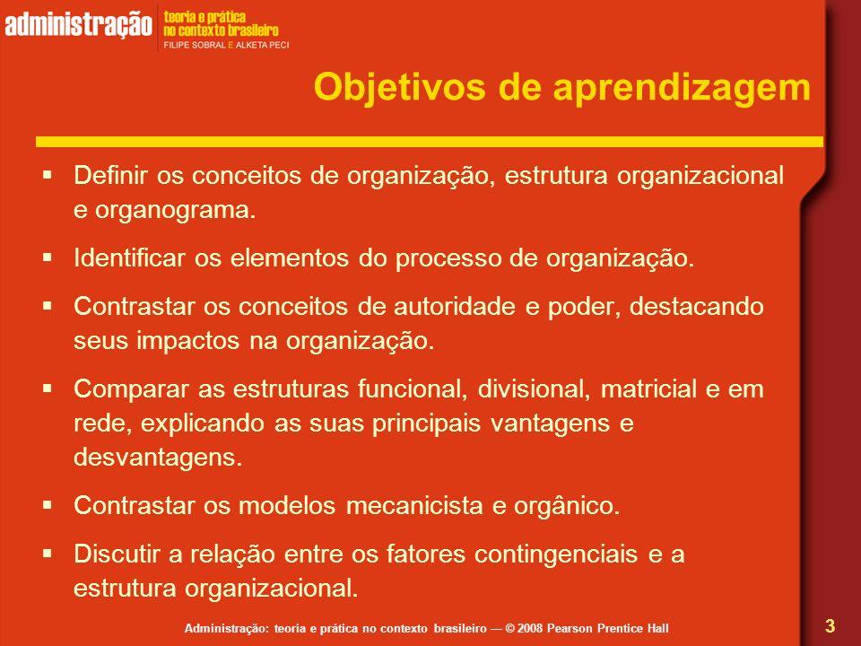 Administração: teoria e prática no contexto brasileiro © 2008 Pearson Prentice Hall Objetivos de aprendizagem Definir os conceitos de organização, est
