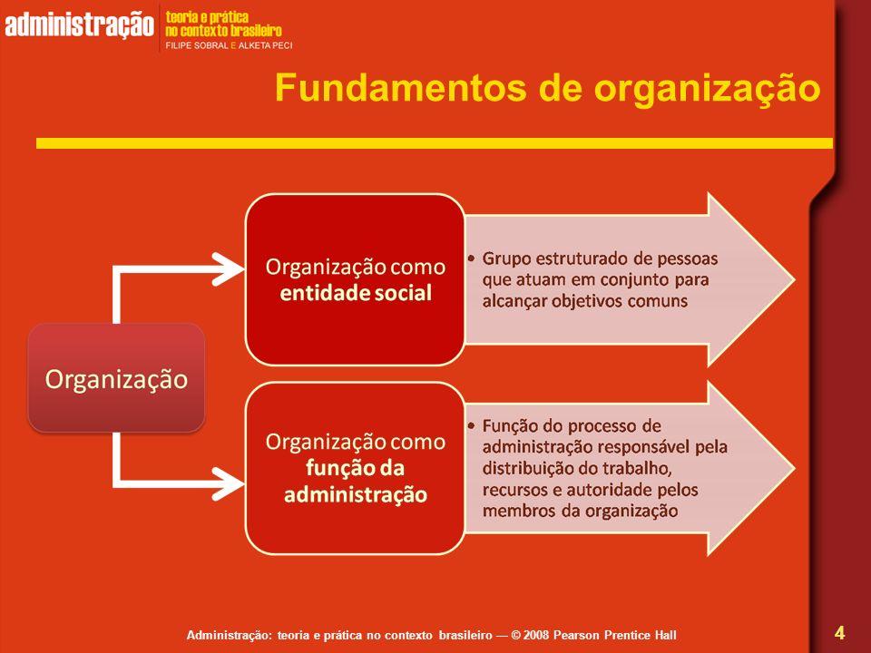 Administração: teoria e prática no contexto brasileiro © 2008 Pearson Prentice Hall Fundamentos de organização 4