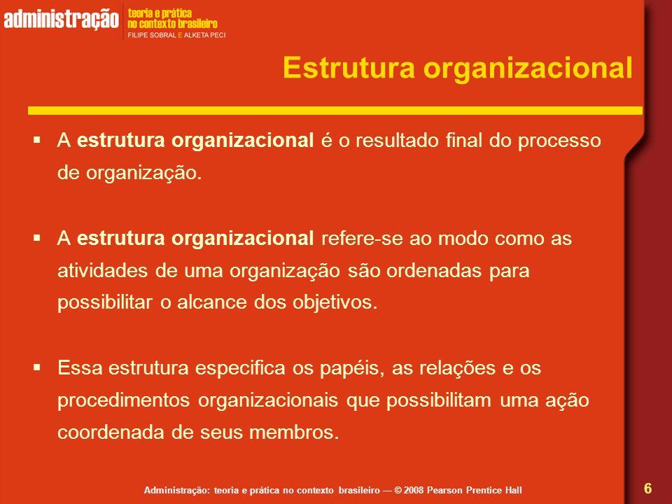 Administração: teoria e prática no contexto brasileiro © 2008 Pearson Prentice Hall Estrutura organizacional A estrutura organizacional é o resultado