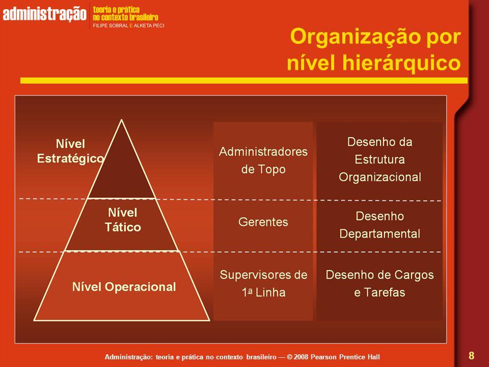 Administração: teoria e prática no contexto brasileiro © 2008 Pearson Prentice Hall Organização por nível hierárquico 8