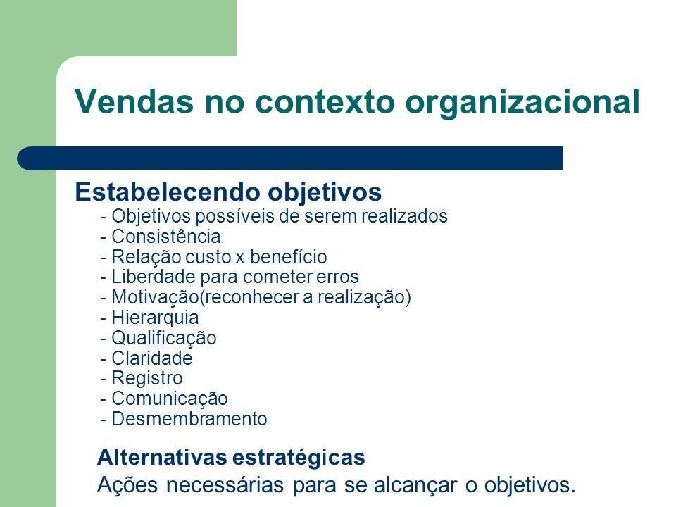 Estabelecendo objetivos - Objetivos possíveis de serem realizados - Consistência - Relação custo x benefício - Liberdade para cometer erros - Motivação(reconhecer a realização) - Hierarquia - Qualificação - Claridade - Registro - Comunicação - Desmembramento Alternativas estratégicas Ações necessárias para se alcançar o objetivos.