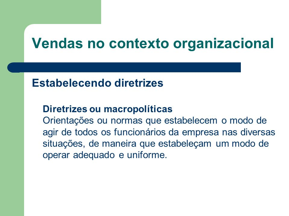 Estabelecendo diretrizes Diretrizes ou macropolíticas Orientações ou normas que estabelecem o modo de agir de todos os funcionários da empresa nas div
