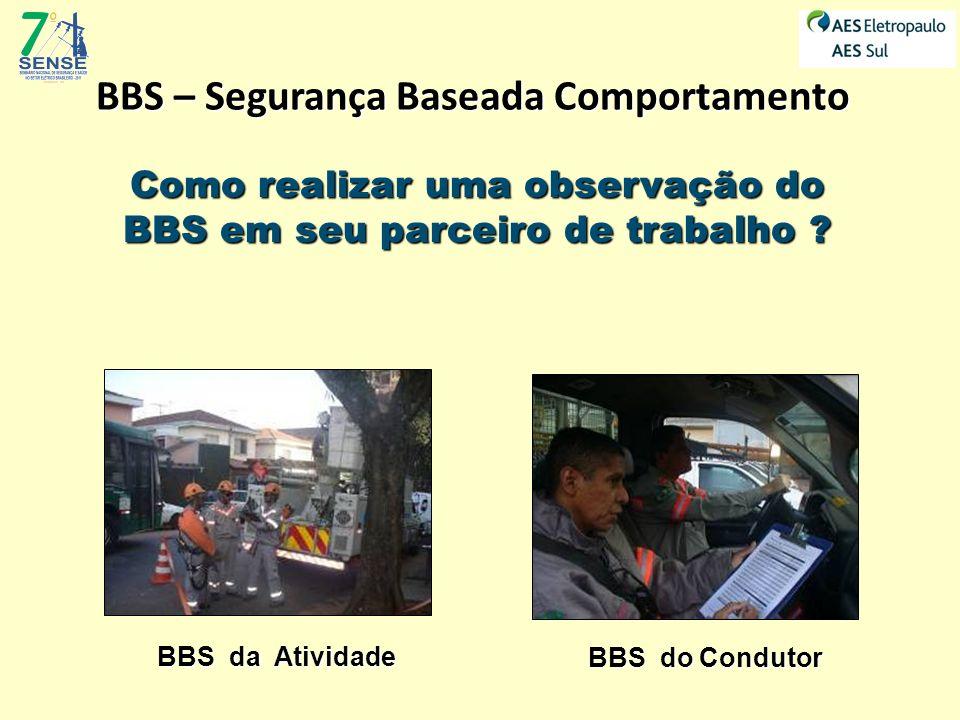 BBS – Segurança Baseada Comportamento Como realizar uma observação do BBS em seu parceiro de trabalho ? BBS da Atividade BBS do Condutor