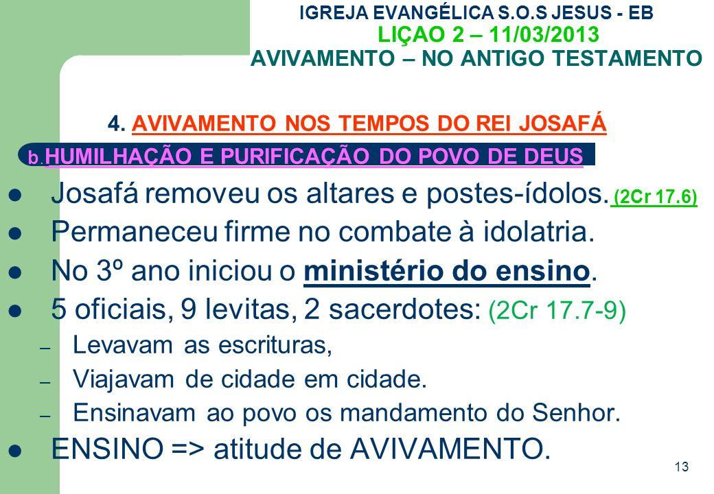 13 IGREJA EVANGÉLICA S.O.S JESUS - EB LIÇAO 2 – 11/03/2013 AVIVAMENTO – NO ANTIGO TESTAMENTO 4.