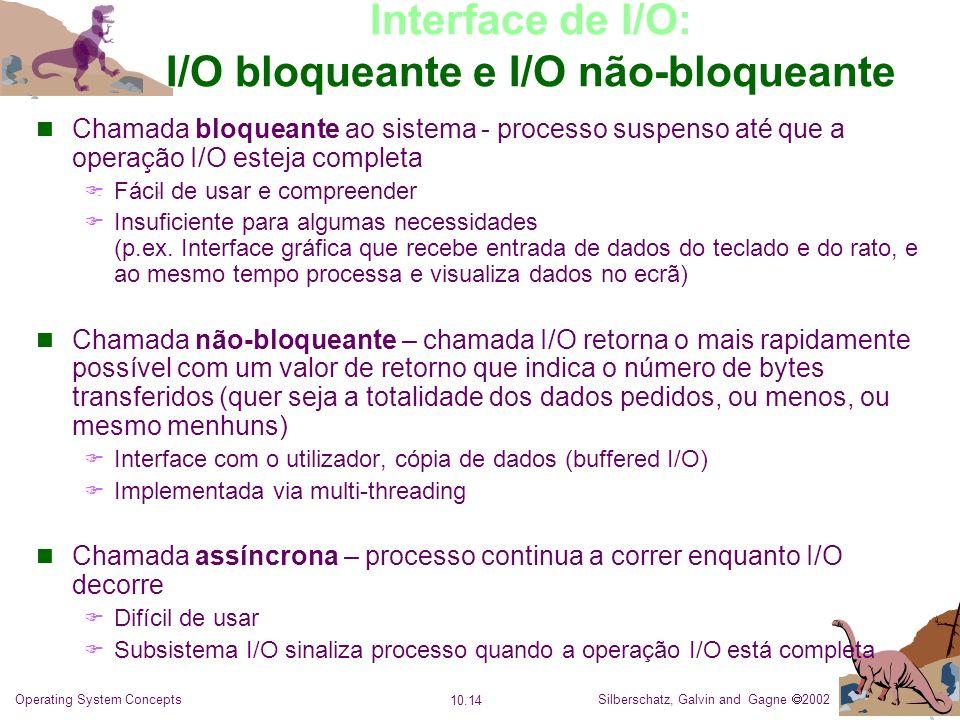 Silberschatz, Galvin and Gagne 2002 10.14 Operating System Concepts Interface de I/O: I/O bloqueante e I/O não-bloqueante Chamada bloqueante ao sistem